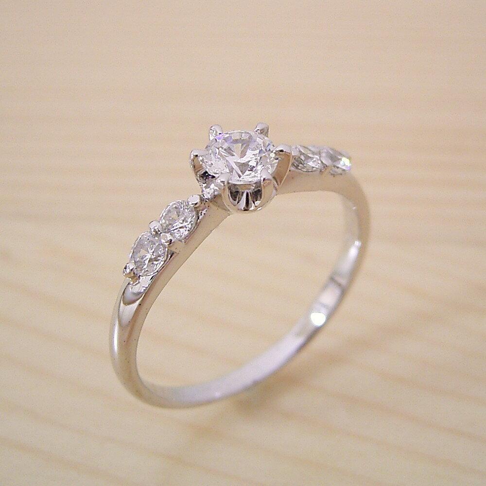 【婚約指輪】エンゲージリング【0.3カラット】一粒【0.3ct】ダイヤモンド【ブライダルジュエリー】プラチナ【結婚指輪】マリッジリング【6本爪サイド2Pメレデザインの婚約指輪】Dカラー・VVS1クラス・Excellentカット・H&Q【宝石鑑定書付き】