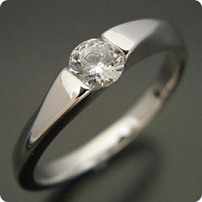 50万円 婚約指輪 0.5カラット エンゲージリング 一粒 ダイヤモンド プロポーズ用 ブライダルジュエリー プラチナ もの凄くスタイリッシュなデザインの婚約指輪 Eカラー・VS1・Excellentカット 宝石鑑定書付き・・・ 画像1