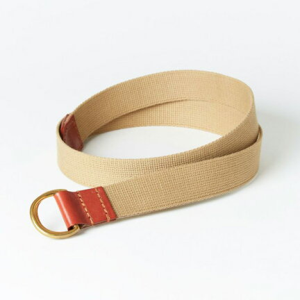 Cotton Canvas Bridle Leather D-Ring Belt 06-5892: Oxford Tan / Sand