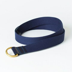 Cotton Canvas Bridle Leather D-Ring Belt 06-5892: Dark Blue / Navy
