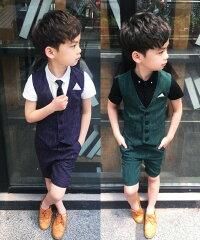 韓国風ストラップ柄上下4点セット子供スーツベスト半ズボン入学式スーツフォーマル七五三男の子夏ストラップ柄ベスト&半袖Tシャツ上着&半ズボンショートパンツハーフパンツ