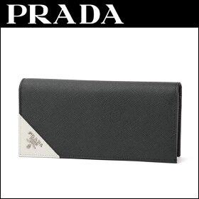 プラダ(PRADA)サフィアーノメタルSAFFIANOMETAL2MV836QMEF0N12財布長財布コーナー三角ロゴバイカラー2つ折り上品モードモノトーンユニセックス