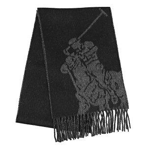 ラルフローレン マフラー ストール RALPHLAUREN ブランド セックス ブラック チャコール ビッグポニー 織り込み フリンジ シンプル
