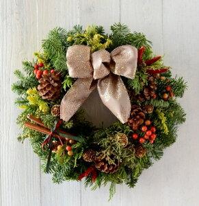 【手作りキット・生花・送料無料】オレゴンもみの木を使用した豪華なクリスマスリース手作りキ...
