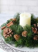 残りわずか■クリスマスキャンドルリース■完成品■造花もみの木■クリスマスキャンドルリース■高級リースにもなる■クリスマスリース壁掛け■クリスマス松ぼっくり■クリスマス自然素材チュラル■光触媒