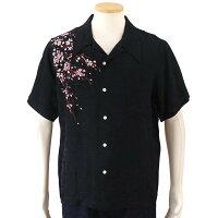 花旅楽団桜刺繍ジャガードシャツ半袖開襟シャツSS-001/和柄和クールビズはなたびがくだん・スクリプト