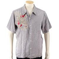 花旅楽団龍刺繍ジャガードシャツ半袖開襟シャツSS-003/和柄和クールビズはなたびがくだん・スクリプト