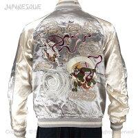 JAPANESQUE風神雷神刺繍スカジャン3RSJ-046/和柄