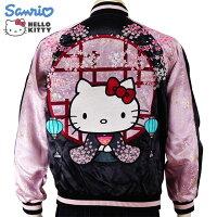 和装ハローキティと桜ジャガード袖刺繍スカジャンHKSJ-004サンリオ和柄