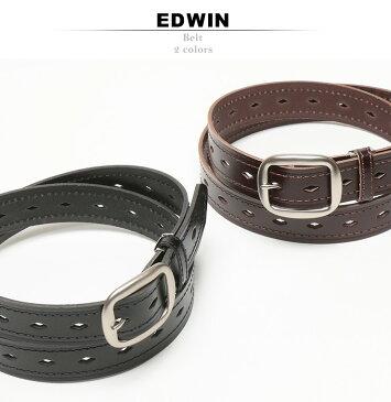 大きいサイズ メンズ EDWIN ダイヤ パンチング加工 牛革 カジュアルベルト サカゼン