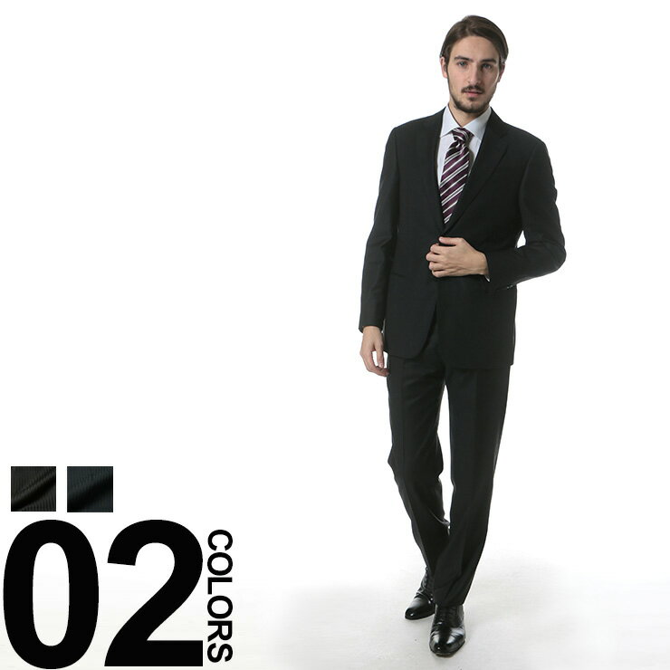 ARMANI COLLEZIONI (アルマーニコレッツォーニ) ウール100% シャドーストライプ シングル 2ツ釦 ノータック スーツブランド メンズ 男性 紳士 ビジネス ストライプ ウール 毛 シンプル 【GAVCVGCAOC008】:大きいサイズのサカゼン