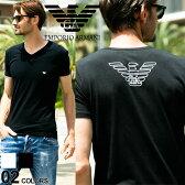 EMPORIO ARMANI (エンポリオアルマーニ) 胸ロゴ Vネック 半袖 アンダーTシャツブランド メンズ 男性 カジュアル アンダーウェア 肌着 ティーシャツ コットン 【EA110810CC735】
