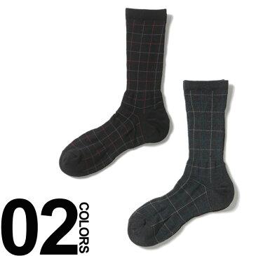 大きいサイズ メンズ 綿100% ずり落ち防止 格子柄 クルーソックス [28 29 30cm] B&T CLUB 大きいサイズメンズ靴下のサカゼン