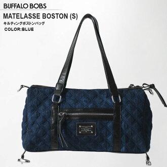 BUFFALO BOBS(水牛鮑勃)MATELASSE BOSTON DENIM(S)絎縫粗斜紋布寬底旅行皮包(2COLOR))