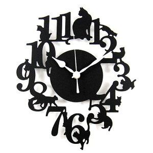 キャットシルエット/掛け時計【送料無料】黒猫 シルエット 掛け時計 安心の日本製ムーブメント ...