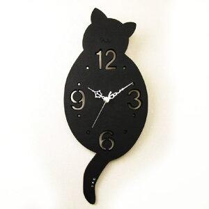 猫の時計/掛け時計キャット クロック 黒猫 後姿 掛け時計