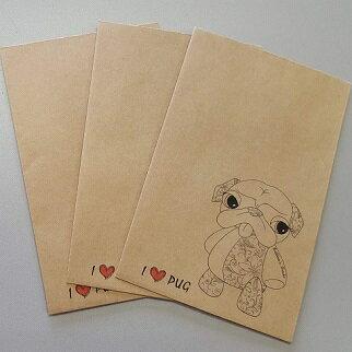 10セットまでなら送料180円※決算セール※【Buhheeee's Oracho】自社オリジナル商品 ポチ袋3枚入り パグ(クラフト)