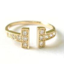 K18k18ダイヤモンドリングダイヤリング誕生石TモチーフT字tモチーフ18金ゴールドPGWG指輪プレゼント送料無料