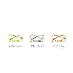 ダイヤモンドK18リング0.10ctクロスPGWG