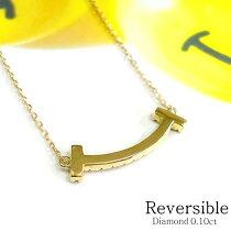 K18ラインネックレスダイヤモンド0.10ctリバーシブル2WAYラインネックレスk1818金ゴールドPGWG誕生石ミニレディースアクセジュエリー送料無料