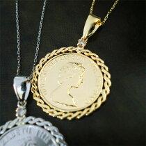 コインネックレスk18K18コインモチーフ一粒ダイヤモンドエリザベスペンダント18金ゴールドレディースジュエリーアクセプレゼント自分へのご褒美