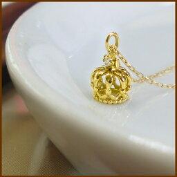 K18 クラウンネックレス 一粒ダイヤ ダイヤモンド クラウン 誕生石 大冠 ゴールド PG WG ネックレス ペンダント 送料無料