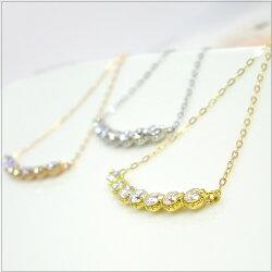 ラインネックレスK18ダイヤモンド0.3ct誕生石アンティーク調ペンダント