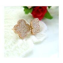 K18ダイヤモンド0.3ctフラワーピアスパヴェ18金ゴールドPGWGアンティーク誕生石送料無料