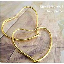 K18フープピアスオープンハートラージサイズゴールドピンクゴールド大き目ハートピアス18金送料無料