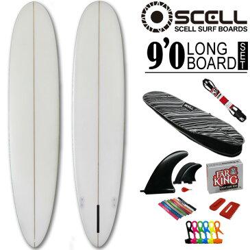 初心者6点SET ロングボード 9'0 クリアセット ホワイト 白 サーフボード SCELL サーフィン ステップアップモデル