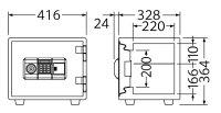【EIKO】スタンダードシリーズテンキータイプES-9PKW幅416×奥行352×高さ364(mm)<棚板1枚付き><内臓シリンダー錠><単3形乾電池4本付き>【TD】