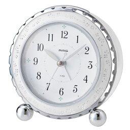 目覚まし時計 非電波 アナログ MAG アルブラン ホワイト T-723-WH-Z目覚し時計 置き時計 音がしない インテリア 寝坊防止 シンプル 一人暮らし ギフト プレゼント 白 【D】【B】