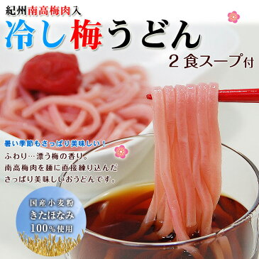紀州南高梅肉を練り込みました梅うどん 2食(麺200g)冷しスープ付【ミヤネ屋で紹介】