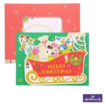 日本ホールマーク 立体クリスマスカード オルゴール そり ディズニーキャラクター ミッキー ミニー(XAO-750-077)We Wish You a Merry Christmasが流れます♪750077/Hallmark【Christmas】【Xmas】