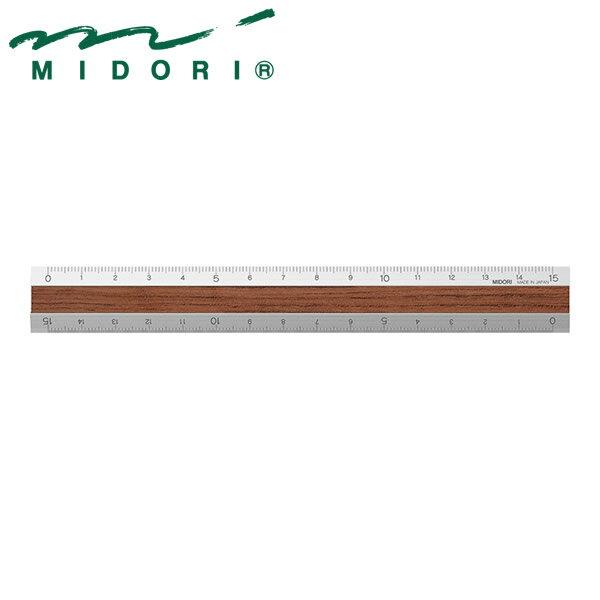 ミドリ アルミ&ウッド定規 15cm 濃茶 42258006