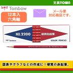 【1ダース】トンボ鉛筆/硬質色鉛筆(あか)2200-25 硬質芯なので描線くっきり、紙面を汚しにくい!使いやすい赤鉛筆。