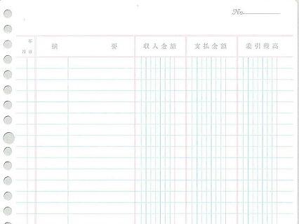 コクヨ/バインダー帳簿用三色刷金銭出納帳科目なし/リ-101