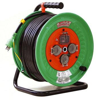 ドラムコードリール電源ドラム屋外50mドラム電源ドラム電源ドラムドラム防雨・防塵型ドラム50m日動工業