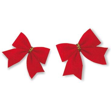 【お取寄】クリスマスツリー 飾り リース キット クリスマスリース 手作りキット 手作り Xmas飾り 赤いリボン12個入【072043】【メール便可】 [M便 1/6]