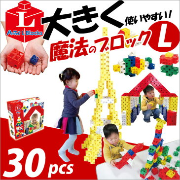 【お取寄】ブロック おもちゃ 子供 小学生 大人 玩具 指先 男の子 女の子 魔法のブロック Lサイズ プライマリー 30ピース【メール便不可】