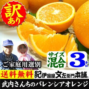 武内さんちのバレンシアオレンジご家庭用【送料無料】サイズ混合3kg有田郡吉備町奥(おき)地区から