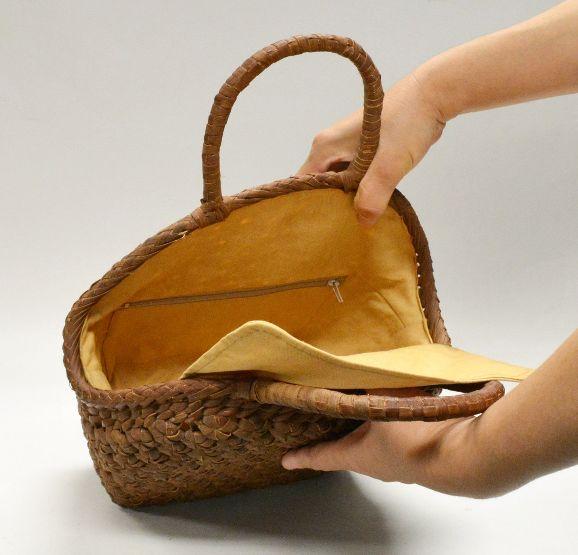 山葡萄 籠バッグ (内布・かぶせ付) 沢皮月形 六角花編み 浴衣 カゴバッグ かごバック カゴバック やまぶどう