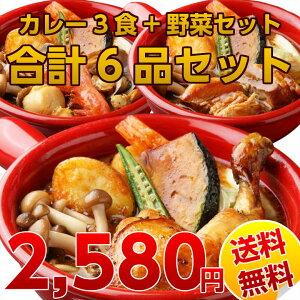 3種類のお試しスープカレー6食+野菜6食 合計12品セット