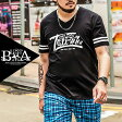 Tシャツ メンズ 大きいサイズ Vネック ライン ロゴ プリント 半袖 Tシャツ メンズファッション 個性的 B系 ストリート系ファッション ヒップホップ ビッグサイズ ビックサイズ キングサイズ バスター 西海岸 オラオラ系 悪羅悪羅系 ブラック 黒 ヤンキー アメカジ