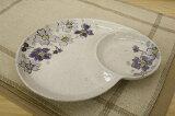 粉引色桜・紫 仕切り皿