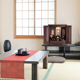 ミニ国産仏壇アサイン花梨18号和室設置イメージ