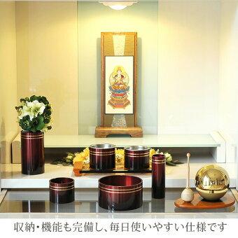 ミニ国産仏壇アクア2ホワイト15号鏡面反射の美しい扉を大きめに設計しスッキリした外観たまゆらりんりんセット14号15号17号18号20号72号京仏壇はやしスマイル仏壇家具衛門仏縁堂