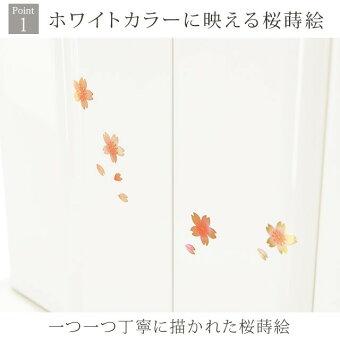 【ミニ国産仏壇ピアフ桜蒔絵ホワイト17号】Point1ホワイトカラーに映える桜蒔絵