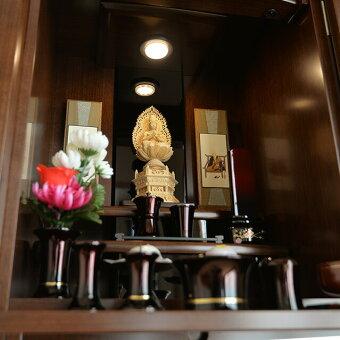【国産】【モダン仏壇】ブロンソンウォールナット42×16号内陣仏具配置例