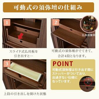 【花椿(はなつばき)ウォールナット13×41号】可動式須弥壇の仕組み